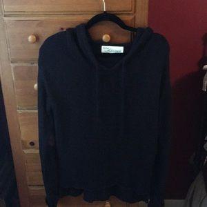 Vintage Havana Sweaters - Vintage Havana black cotton sweater with hood